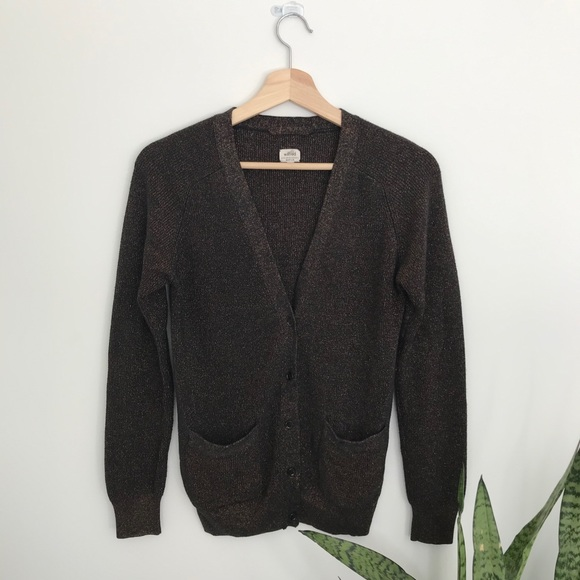 Aritzia WILFRED Brown and Gold Cardigan